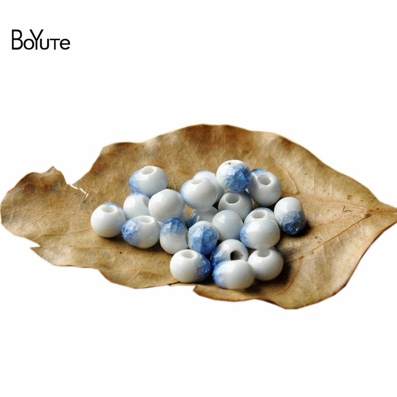 BoYuTe 100Pcs 8MM Beads Atacado Diy Materiais Jóias 6 Cores Cracked Ice Crystal Porcelain Ceramic Beads