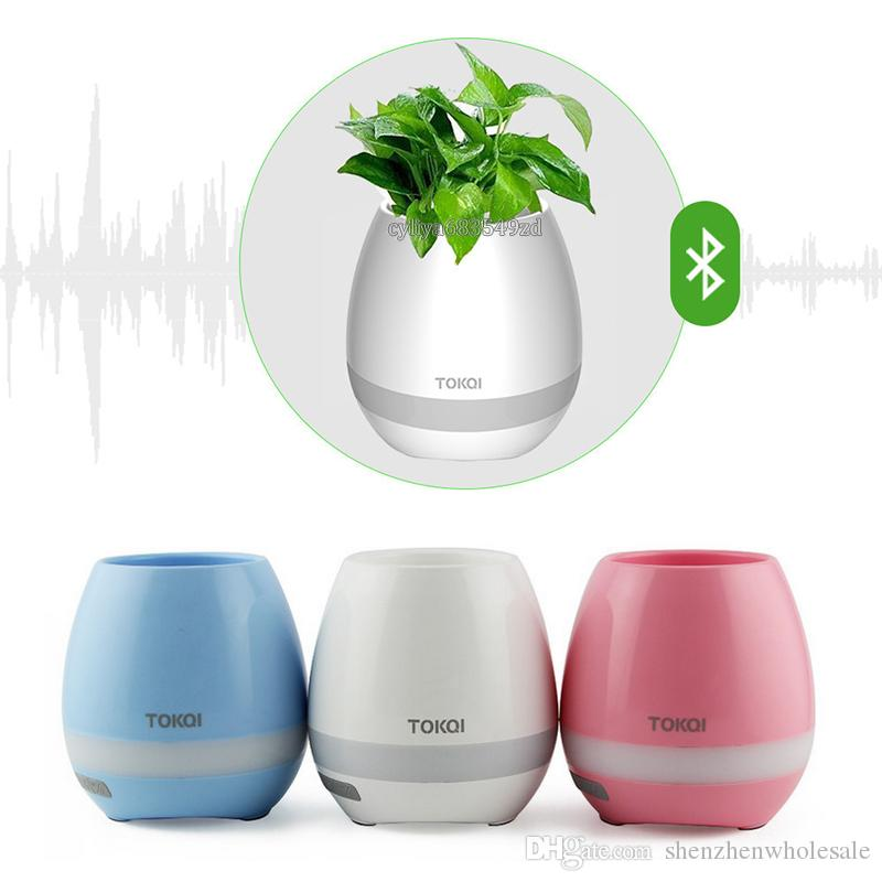 TOKQI Bluetoth Música de Toque Inteligente Vasos de Plantas Piano Música Jogando Vaso de Flores Sem Fio colorido luz vasos de Flores sem Plantas