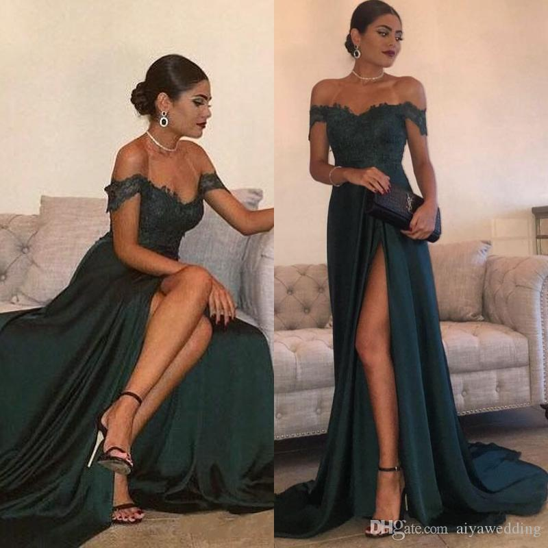 3d79cb18ccdd7 2019 Evening Gowns A Line Hunter Green High Split Cutout Side Slit Lace Top  Sexy Off Shoulder Hot Formal Party Dress Prom Dresses Kids Prom Dresses Uk  Lulu ...