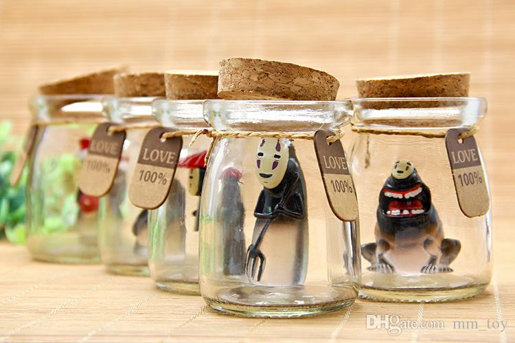 Spirited Away No Face Man DIY Doll Japan animiation Action Figure Kids toys gift Miniature Model Doll Glass Wishing bottle