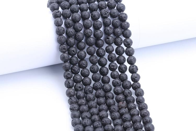 Fashion DIY Accessories Lava Rock Loose beads Black gem Natural stone Beads For women bracelets jewelry making wholesale Bulk