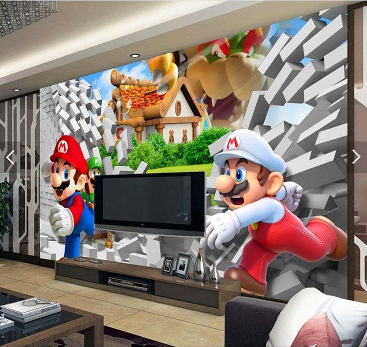 Cartoon Large Mural 3D Super Mario Wallpaper Mario Brothers Theme Pack Room Children's Room Amusement Park Wallpaper