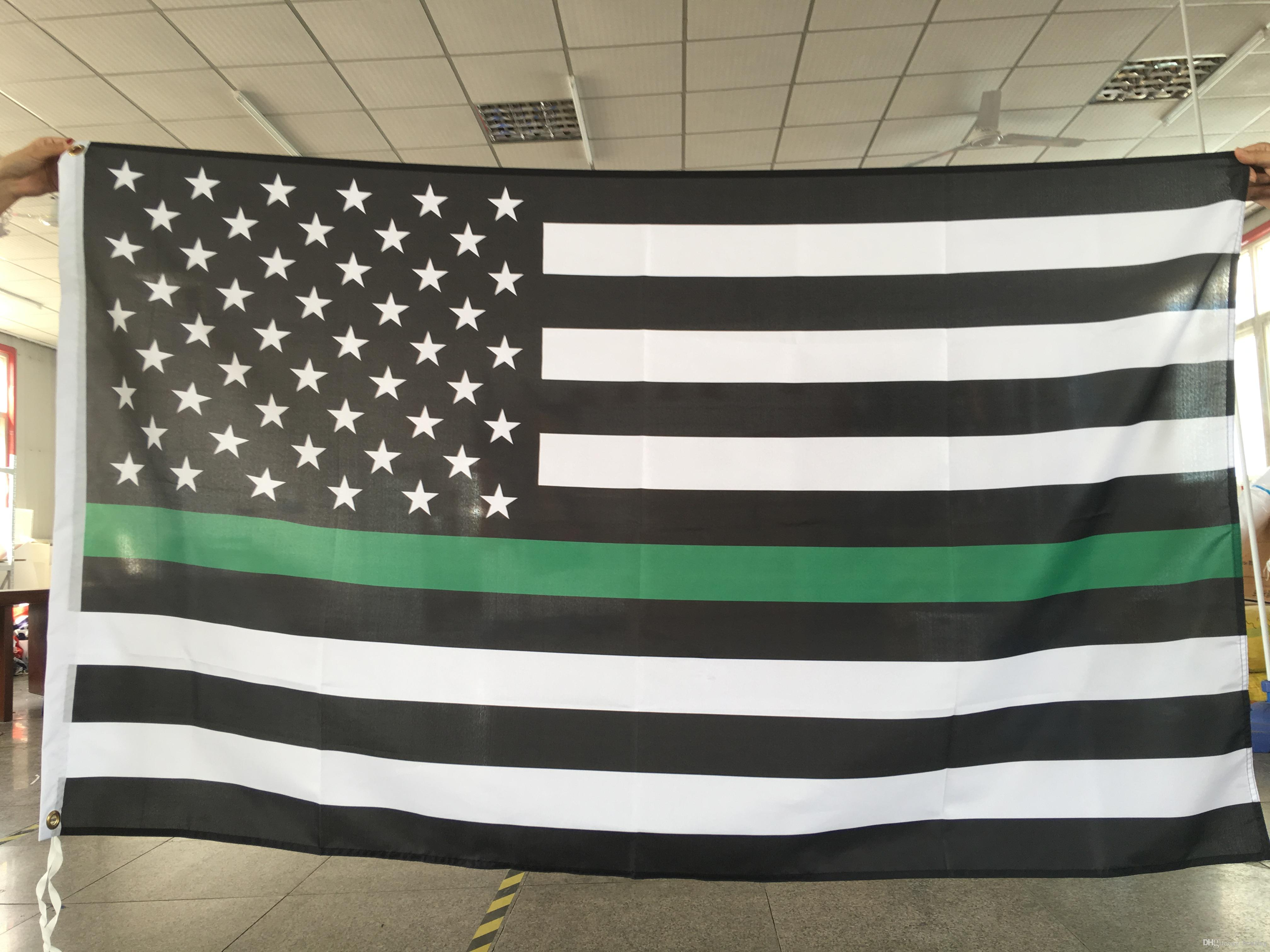 f78a5ceaf476 2019 Thin Green Line American Flag Flying Design 3x5 Ft 100D Polyester  Banners With Two Metal Grommets From Bestflag