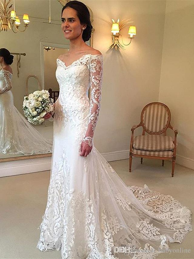 New Gorgeous Long Sleeve Lace Mermaid Wedding Dresses 2017 Dubai African Style Petite Natural Slin Fishtail Off-shoulder Train Bridal Gowns