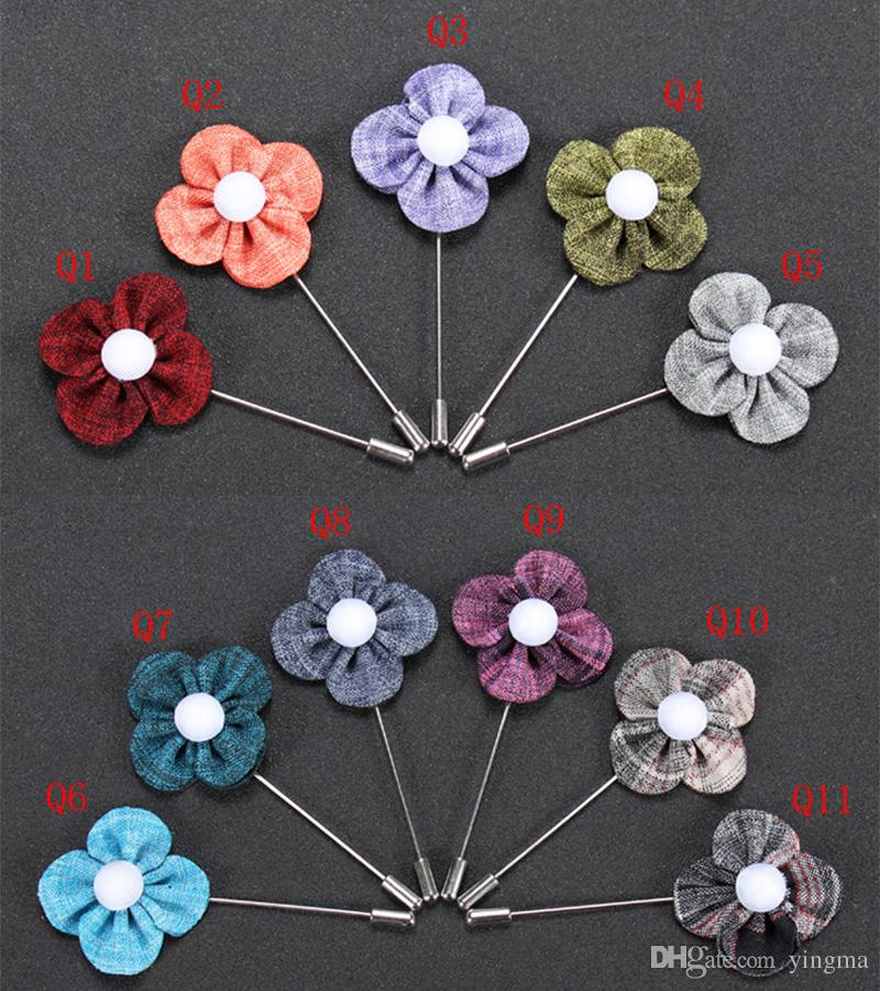 Fashion Men Brooch Flower Lapel pin suit Boutonniere fabric yarn pin button Clover Flower Brooches Broches for Male Groomsmen wedding Jewlry
