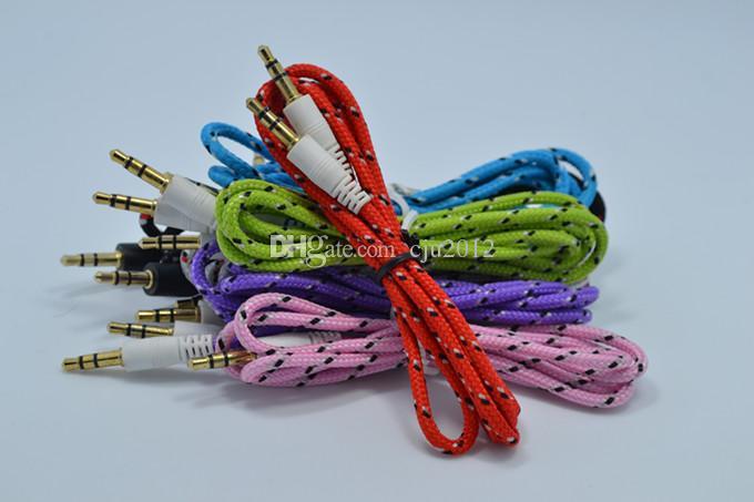 Stoff Schirmgeflecht 3,5 mm Audio-Kabelschnur Zusatzkabel für mp3 mp4 Kopfhörer Nylon-Kabel
