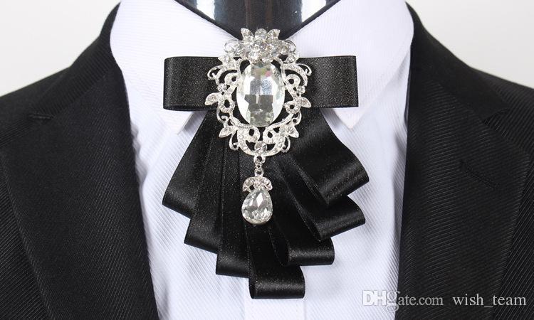 Camisas de ropa de los nuevos hombres broches de los pernos de alta calidad trajes de hombre de la cinta de doble pin collar de boda hechos a mano de los Rhinestones de broches de los pernos