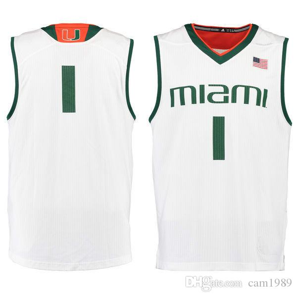 size 40 ef3b4 0cb24 No.1 Miami Hurricanes Mens College Basketball Jersey green white embroidery  Men Sport Jerseys size S-3XL