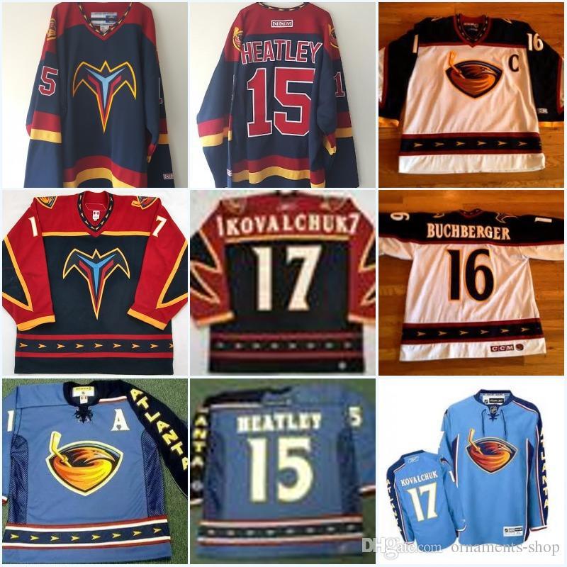 36092a5eb 15 Dany Heatley Atlanta Thrashers Jerseys 17 Ilya Kovalchuk 2003 16  Buchberger 97 Player Throwback Hockey Jerseys All Stiched Canada 2019 From  Ornaments ...