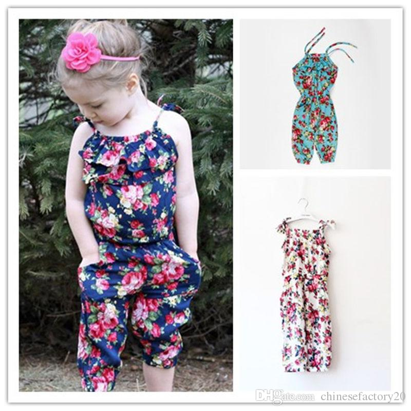 4dcc1a2777bb 2019 INS Girls Floral Jumpsuit Suspenders Lace Up Outfits Summer ...