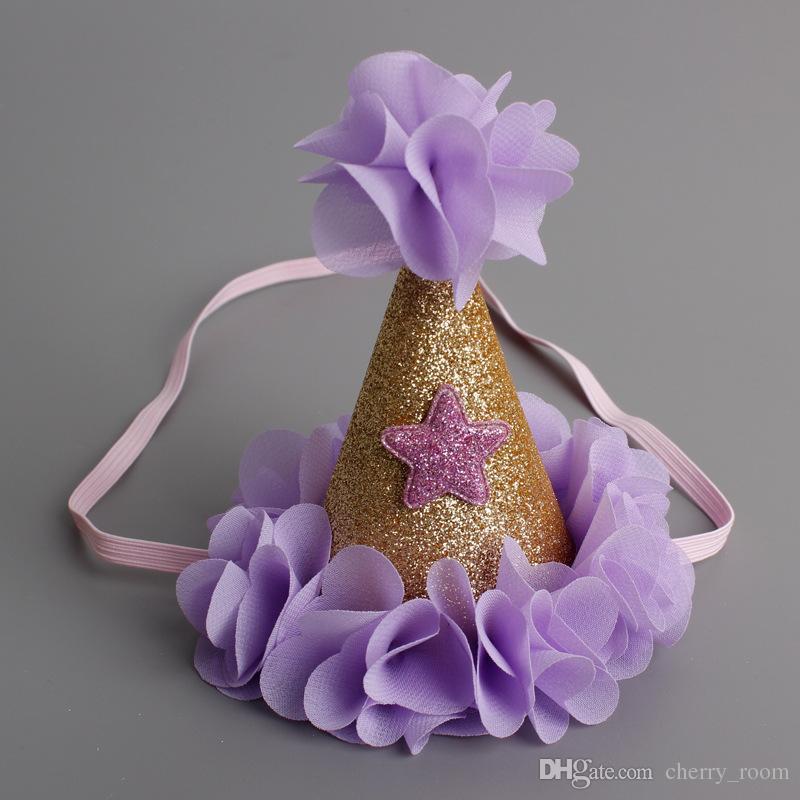 Nuovo Appena nato sveglio Mini Chiffon bambine Cappello Corona Petali Caps Fiori Fasce neonate della festa di compleanno Cappelli Accessori capelli A6888