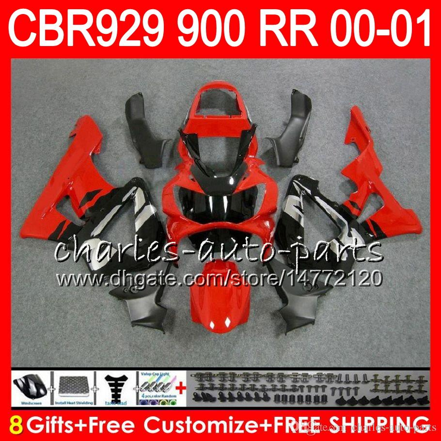 Cuerpo para HONDA CBR 929RR CBR900RR CBR 929 RR CBR929RR 2000 2001 top Rojo plata 67NO27 CBR900 RR CBR 900RR CBR929 RR 00 01 Kit carenado 8Gifts