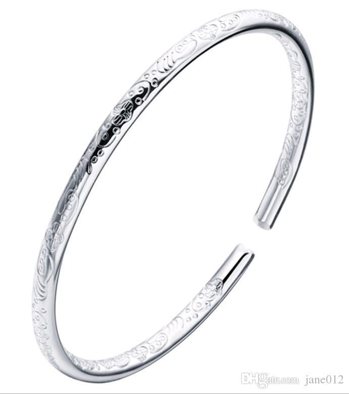 Bohemian 999 Sterling Silver Bangles Fine Silver Plated Carved Female Models Bracelet Jewelry Valentine s Gift Factory Direct Price