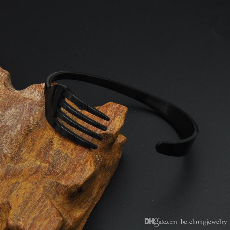 Rock Fork Spoon Braccialetti Color oro placcato bracciali in acciaio inossidabile Braccialetti Donna Uomo gioielli