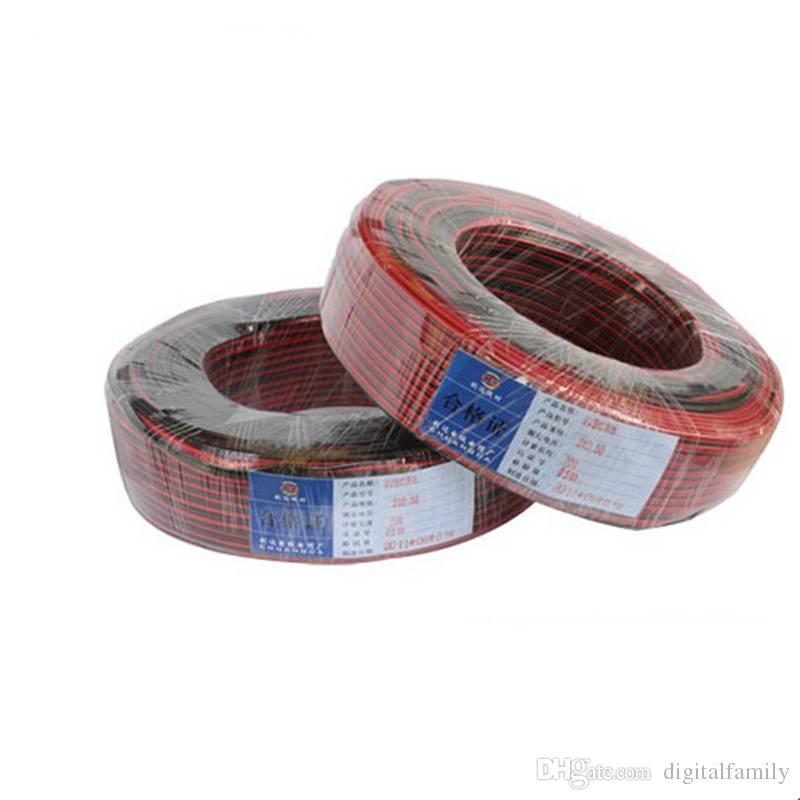 2pin rot schwarzes Kabel PVC-isoliertes Drahtkabel für einzelne Farbe 5050 3528 5630 3014 2835 LED-Streifen 600m / roter und schwarzer Draht
