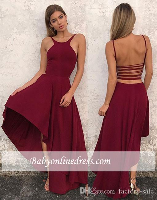 2018 New Sexy Burgundy A Line Prom Dresses Spaghetti Straps High Low Chiffon  Evening Gowns Mermaid Prom Dresses Cheap Simple Beaded Prom Dresses  Bohemian ... 3e0430154