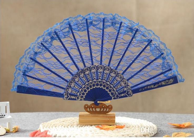 Vintage Fancy Dress Costume Chinese Costume Party Wedding Dancing Folding Lace Hand Fan black