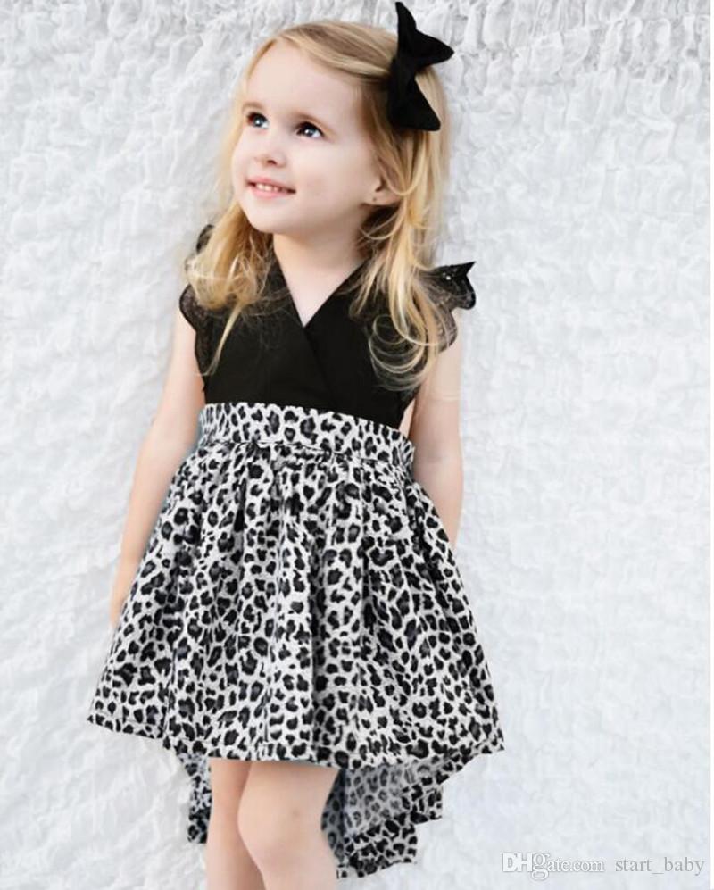 INS Sommer Mädchen Leopard print Kleider Baby Kleidung Kinder Haar Bogen + Spitze Ärmel Kleid kleine Schwestern passend ins schwarze Strampler Baby Tuch
