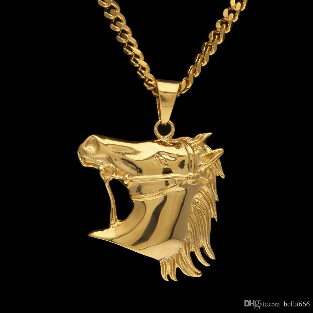 882262a84fb Wholesale Mens Stainless Steel Horse Head Pendant Necklace High Quality Gold  Plated Hiphop Animal Zombie Horse Charm Pendants Jewelry 5mm Cuban Chian  Photo ...