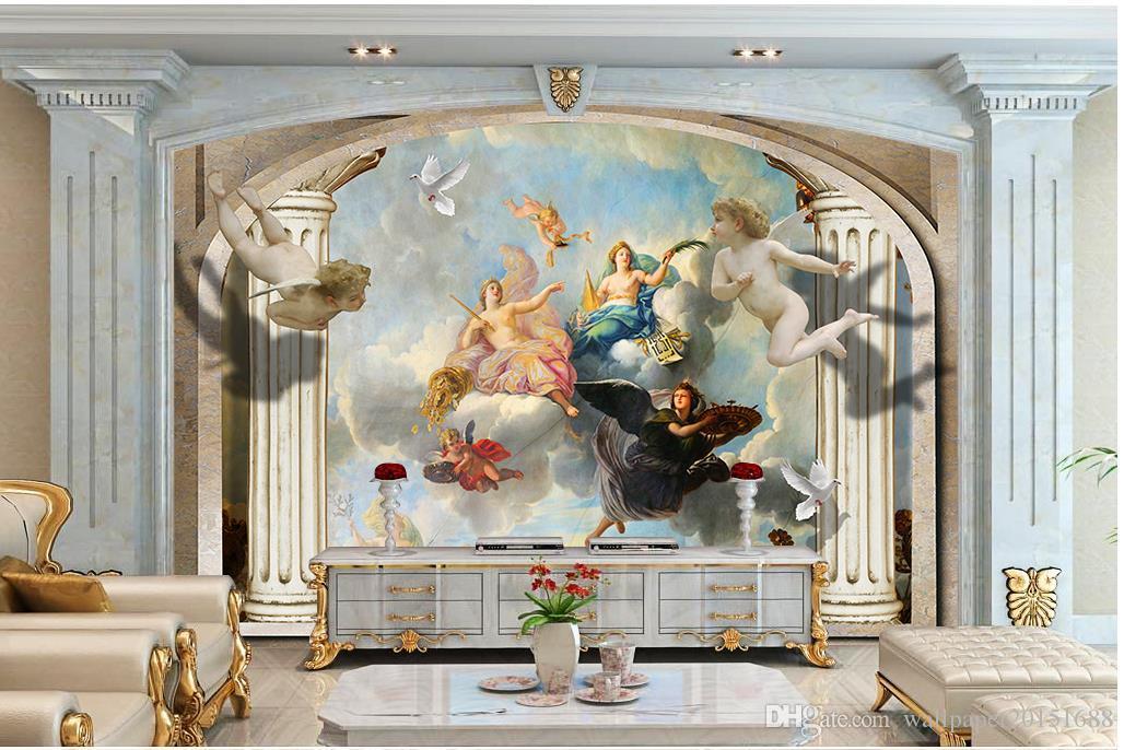 colunas romanas cenário europeu Anjo TV 3D mural 3d papel de parede 3d papéis de parede para TV pano de fundo