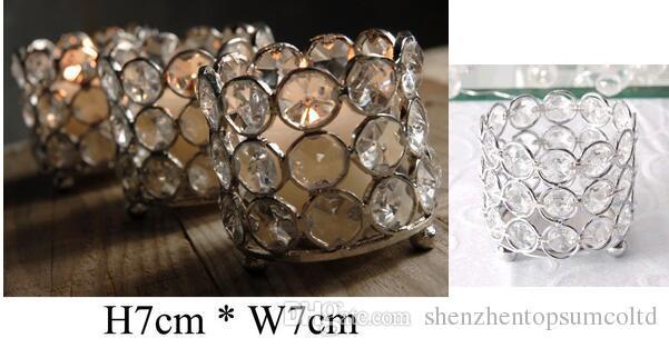 32 Unids / lote, H7cm * W7cm, Envío Gratis, Titular de Vela Votive Cristal de Cristal, Boda Pieza Central Decoración Del Hogar