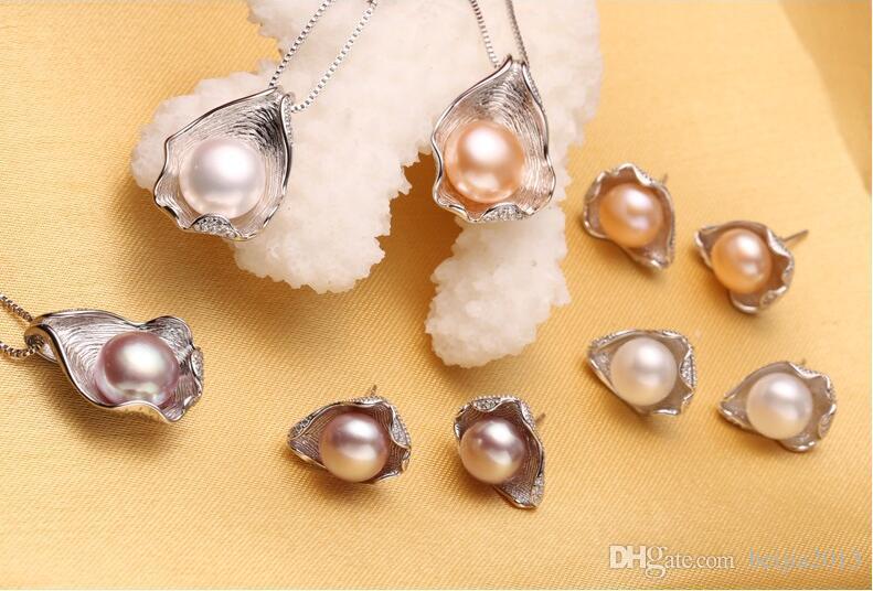 Joyería de la perla del envío gratis, sistemas de la joyería del colgante de la perla para las mujeres Sistema de la joyería de la boda del collar / del pendiente de la perla, diseño pendiente de la cáscara