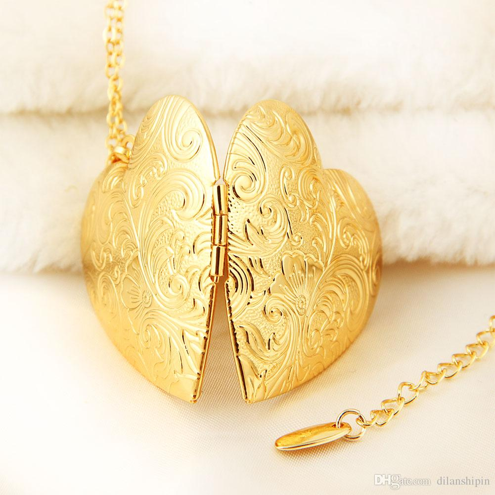 Wholesale Jewelry Big Heart Lockets Necklace Charm Necklace 18k gold plated Photo Locket Frame Pendant Necklace For women Girls lover gift