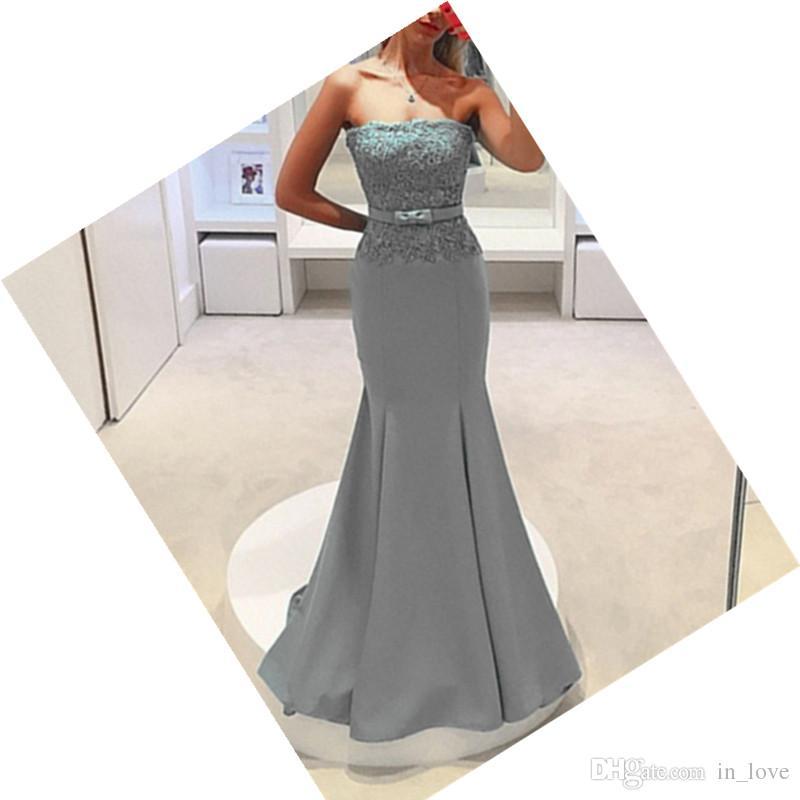 Cinza Longo Sereia Vestidos de Noite Strapless Lace Satin Bow Até O Chão Mulheres Vestidos Formais Design Clássico Tamanho Personalizado