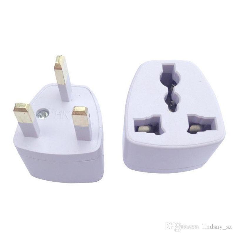 Adaptador universal de viaje EU US AU a UK AC Travel Adaptador de enchufe de cargador de enchufe de energía Convertidor 250V 10A Socket Converter Envío rápido blanco