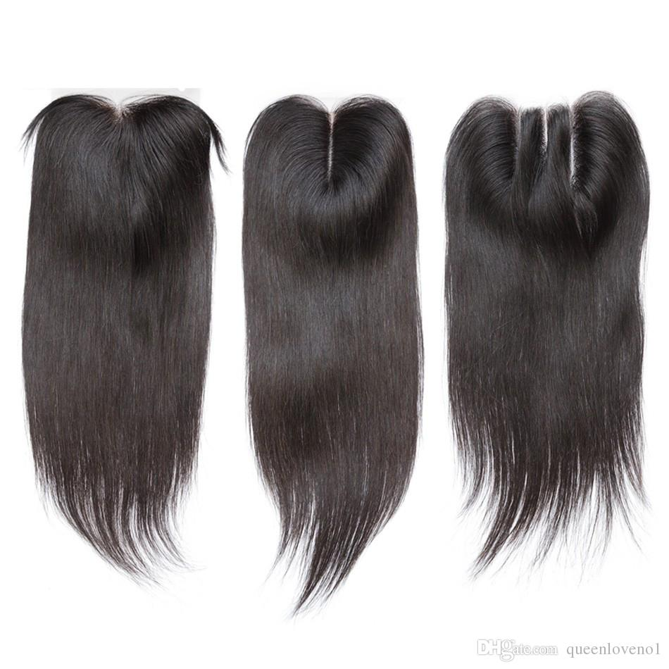 Бразильские прямые волосы Weaves 3 пакета с закрытием Бесплатная Средняя 3 Часть Двойной уток человеческих волос Удлинения волос Подоразимые 100 г / ПК