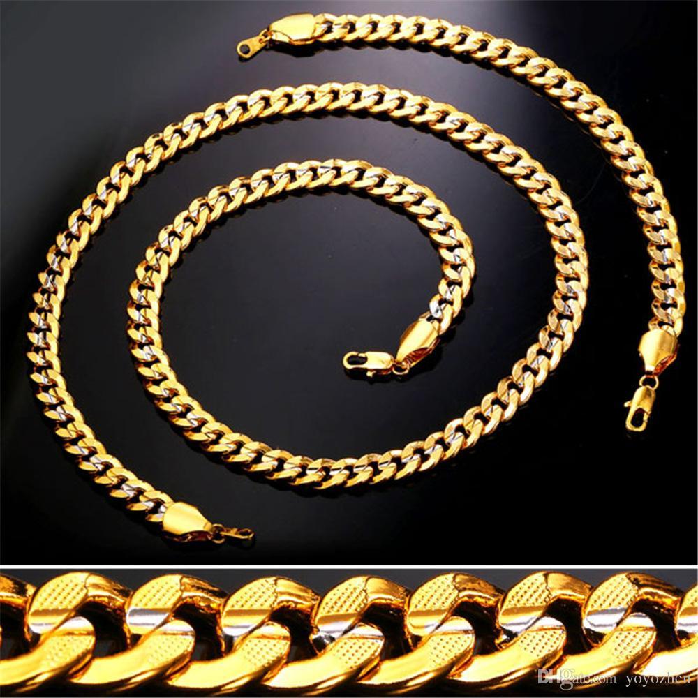 69c3e91887c9 Compre Cadena De Oro De 9 MM Para Hombres   Mujeres Platino   18K Juego De  Brazalete De Oro De Dos Tonos Con Cadena De Acera Plateada A  17.85 Del  Yoyozhen ...