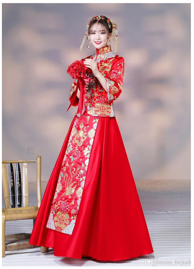 2017 New Chinese Dress Gown Dragon Spring Bride Toast Clothing Long ...