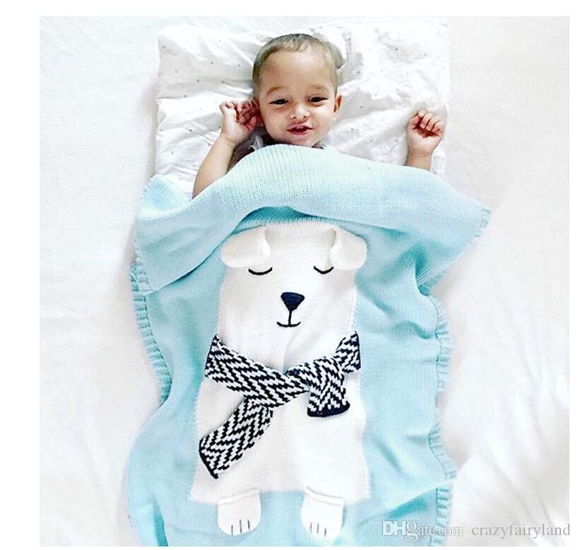 Stricken Swaddle Wrap Cartoon Tier Bär Baby Decken Ich Weiche Klimaanlage Kinderwagen Baby Bett Neugeborenen Wrap Decke