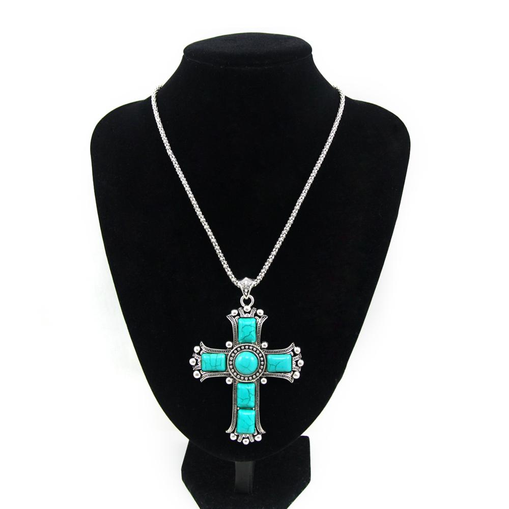 Wholesale vintage cross pendant necklaces silver chain blue stone wholesale vintage cross pendant necklaces silver chain blue stone necklace women jewelry big cross necklace jesus piece nkej84 mom pendant necklace pearl aloadofball Images