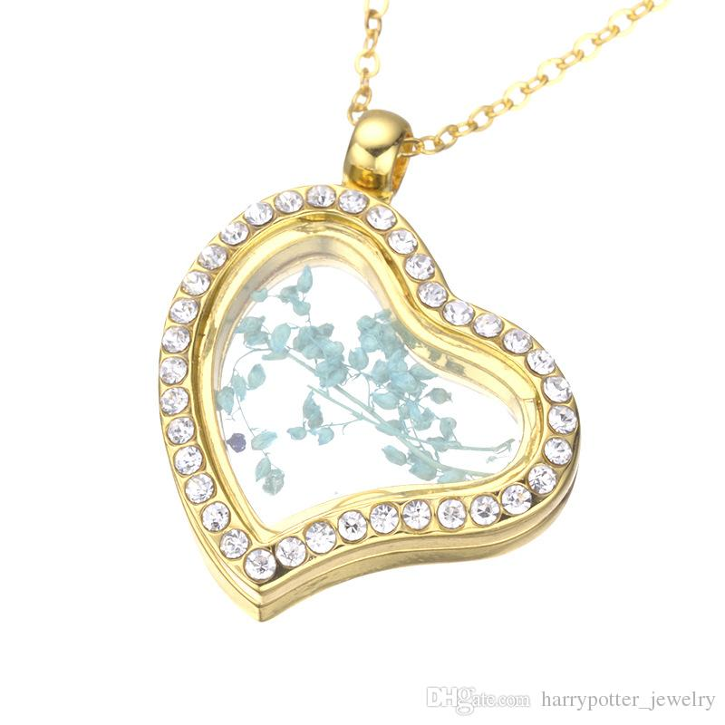 heart Floating Locket Pendant Necklace women Magnetic Living Memory Glass Floating Charm Locket Chains DIY necklaces 161934