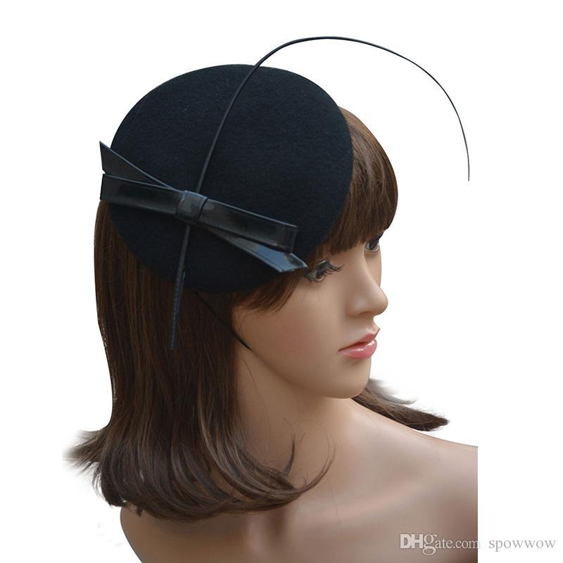 Dames cuir arc autruche piquants feutre laine plume Fascinator corde alligator cocktail cocktail derby chapeau A144
