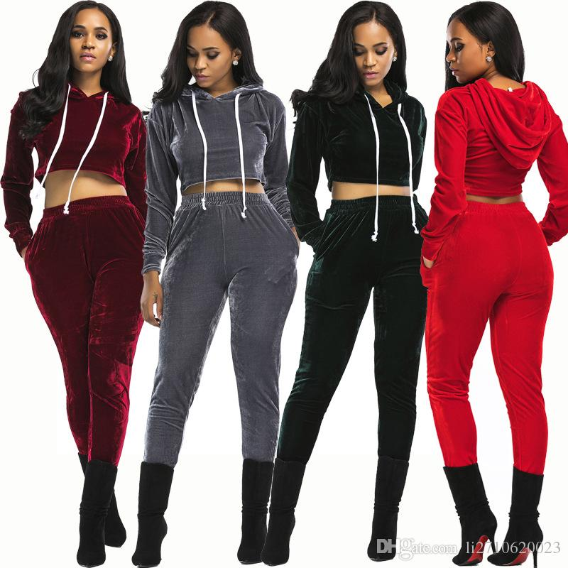 2020 New Arrival 2018 Velour Tracksuit Women Set Top And Pants Velvet Tracksuits Sweatsuit Hoodie Sweatshirt Plus Size From Li2710620023 22 62 Dhgate Com