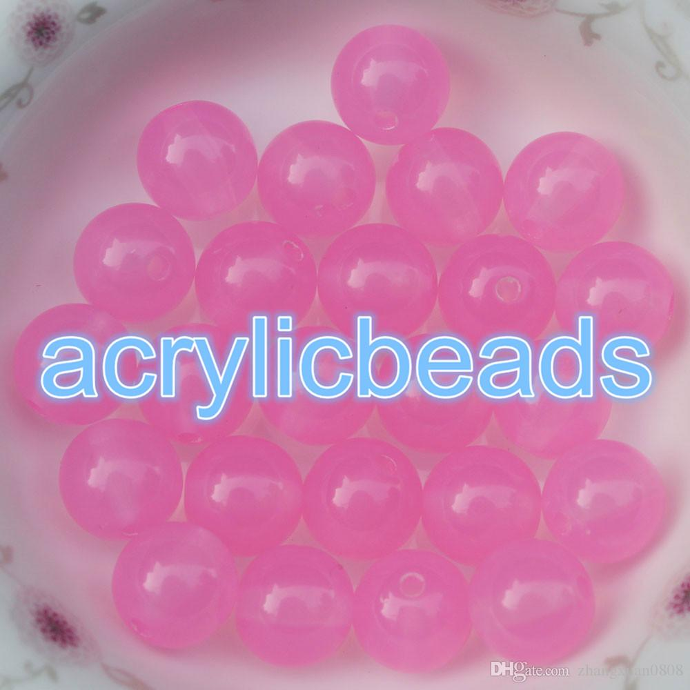 Spring Color 12MM Transparent Jelly Acrylic Round Beads Loose Spacer ...