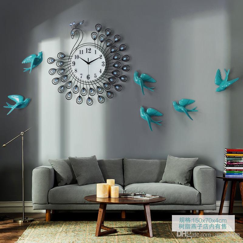 3d Luxury Large Metal Wall Clocks Diamond Peacock Art Wall Decor