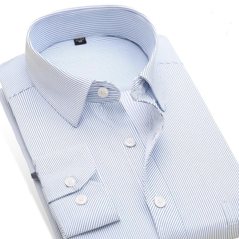 9427c69678 Wholesale- Striped Shirt Men's Slim Fit Dress Shirts Long Sleeve Men's  Office/Work Wear Clothes Men's Formal Business Shirts Brand Clothes