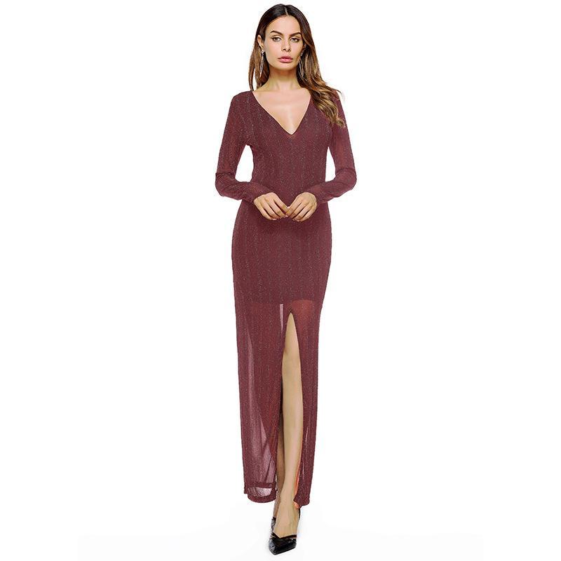 3d8cfa8e1df4 New Arrivals Christmas Women s Pure Color Long-sleeved Sexy Long Dress  Party Night Club Dress Winter Dress Plus Size Dresssweater Dresswinter Dress  Online ...