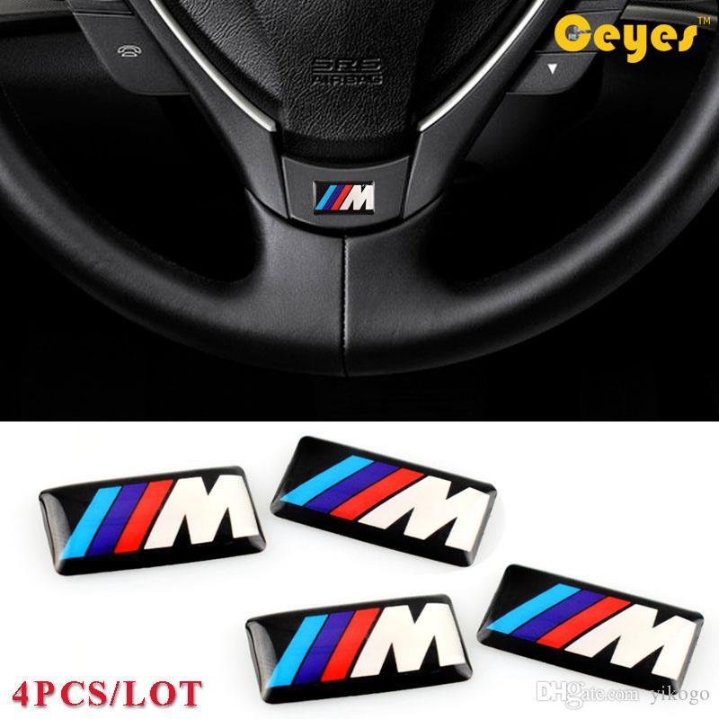 Bmw M M5 M6 için araba Logosu Çıkartmalar F32 E53 E90 F10 X3 Epoksi araba logosu Plastik Damla Sticker Araba Styling 4 adet / grup