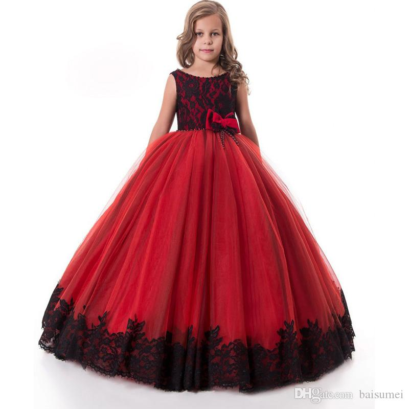 Red Flower Girls Dresses Black Lace Graduation Dresses For ...