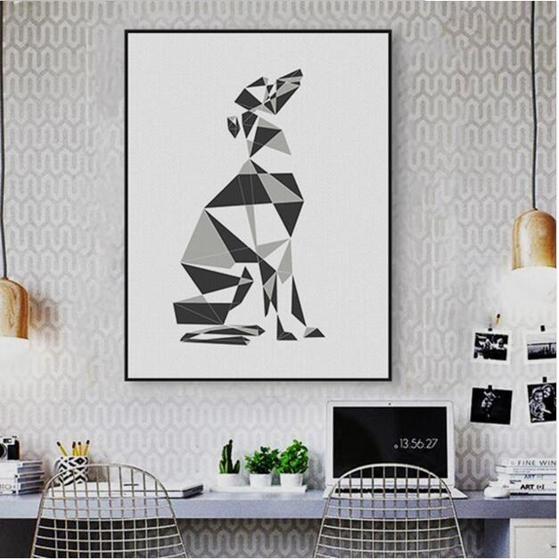 Gro handel abstrakte hund geometrische greyhound leinwand gro e poster wandbilder nordic - Geometrische wandbilder ...