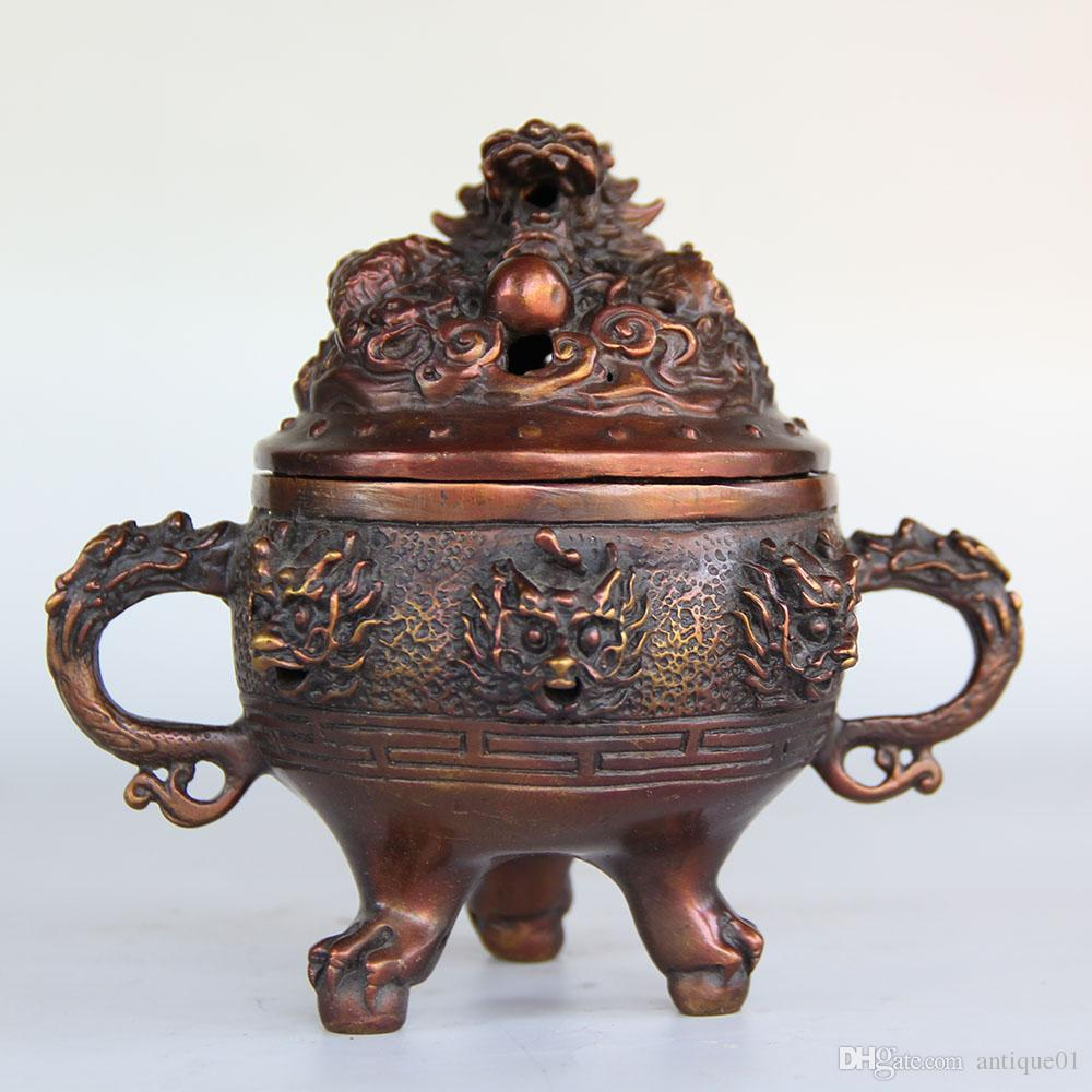 Chinese carved Pure bronze lucky dragon incense burner sculpture censer Statue home decoration