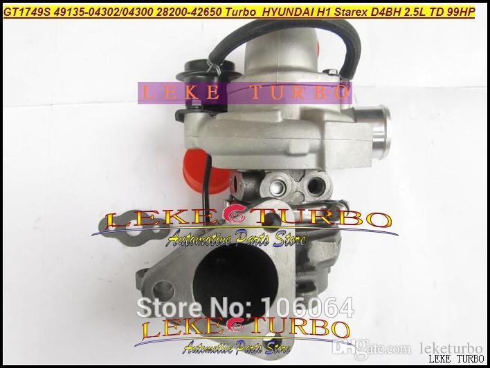Turbocompresseur de GT1749S 49135-04300 49135-04302 49135 04300 28200-42650 28200 42650 Turbo pour Hyundai H1 Starex D4BH 2.5L TD 99HP