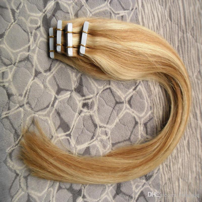 Trama della pelle Capelli naturali veri naturali su nastro biadesivo capelli senza cuciture P27 / 613 nastro in estensioni dei capelli umani dritto 80 pz 200g