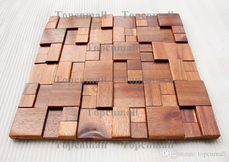 3D telhas de mosaico de madeira design de interiores telhas de parede materiais de construção em casa do hotel bar restaurante design mosaicos padrões de mosaico mosaico de madeira natural