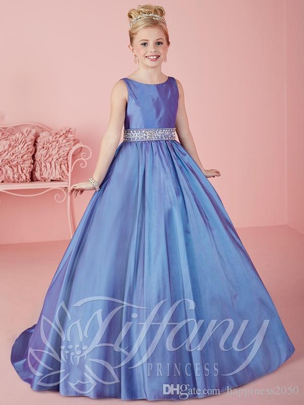 Jolies Violet Taffetas Scoop Perles Robes De Fille De Fleur Princesse Pageant Robes Robes De Fête Sur Mesure 2-14 F525074