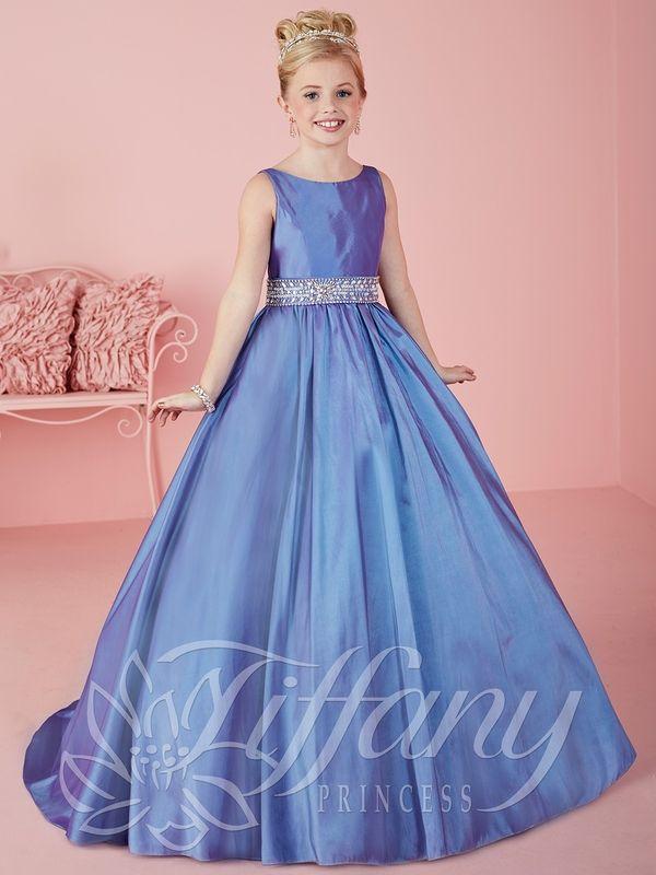 Pretty Purple Taffeta Scoop Beads vestidos de niña de las flores desfile de princesa vestidos vestidos de fiesta de la muchacha por encargo 2-14 F525074